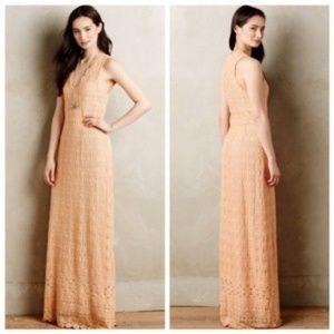 Korovilas Calantha Peach Lace Maxi Dress Gown